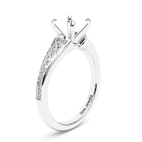Round Brilliant Cut Contemporary Descending Side Stone Engagement Ring   Mounts