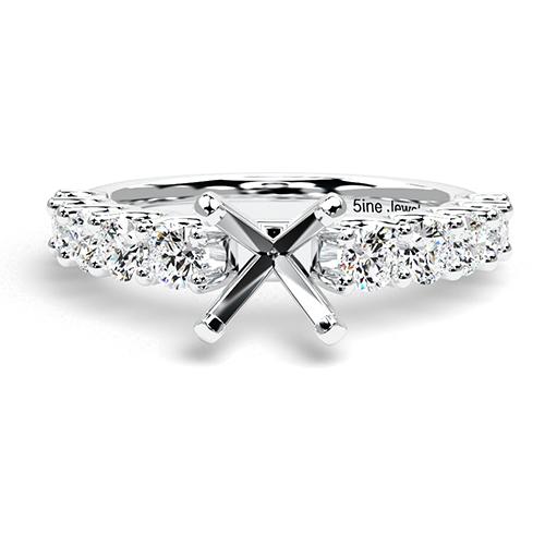 Round Brilliant Cut U Prong Set Side Stone Engagement Ring   Mounts