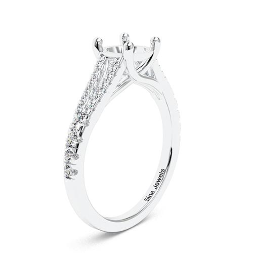 Round Brilliant Cut Split Shank Side Stone Engagement Ring   Mounts