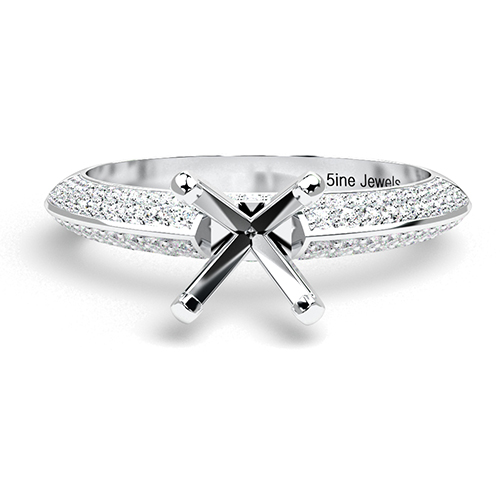 Round Brilliant Cut Knife Edge Micropavé Side Stone Engagement Ring   Mounts