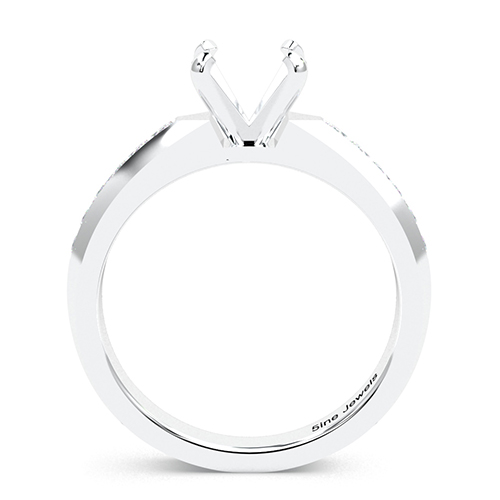 Round Brilliant Cut Channel Set Side Stone Engagement Ring   Mounts