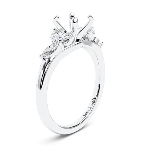 Round Brilliant Cut Leaf Inspired Side Stone Engagement Ring   Mounts