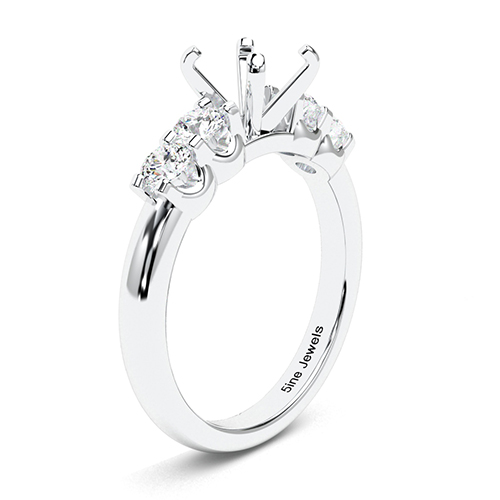Round Brilliant Cut Five Stone Side Stone Engagement Ring   Mounts