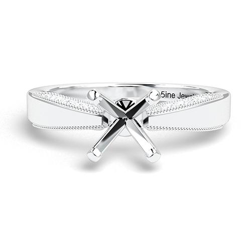 Round Brilliant Cut Milgrain Side Stone Engagement Ring   Mounts