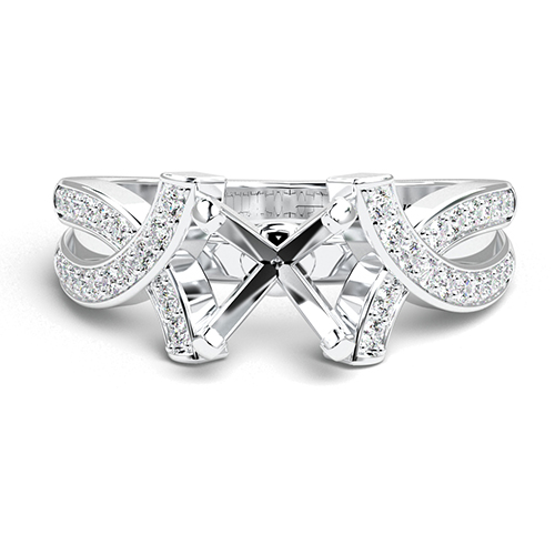 Round Brilliant Cut Intertwined Side Stone Engagement Ring   Mounts