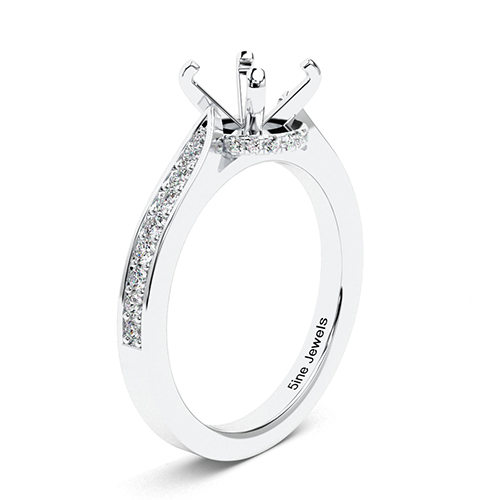 Round Brilliant Cut Tapered Milgrain Side Stone Engagement Ring   Mounts