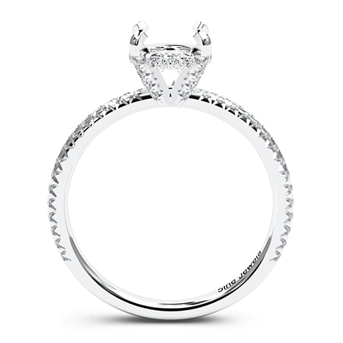 Round Brilliant Cut Petite French Side Stone Engagement Ring   Mounts