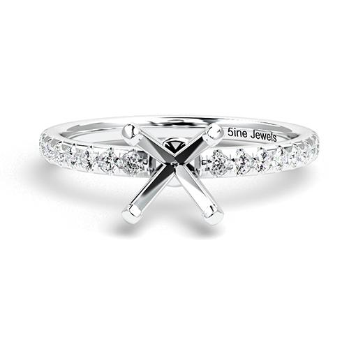Round Brilliant Cut Petite Side Stone Engagement Ring   Mounts