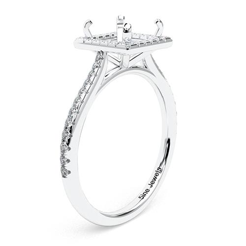 Princess Cut Vintage Floating Halo Engagement Ring   Mounts