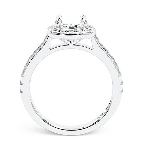 Round Brilliant Cut Cushion Style Halo Engagement Ring   Mounts
