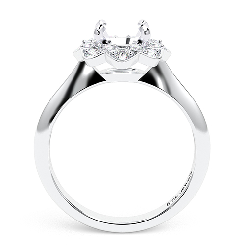 Round Brilliant Cut Knife Edge Flower Style Halo Engagement Ring   Mounts