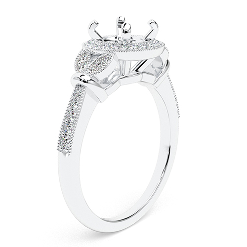 Round Brilliant Cut Miligrain Vintage Halo Engagement Ring   Mounts