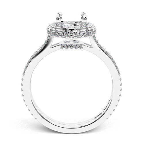 Round Brilliant Cut Twin Shank Halo Engagement Ring   Mounts