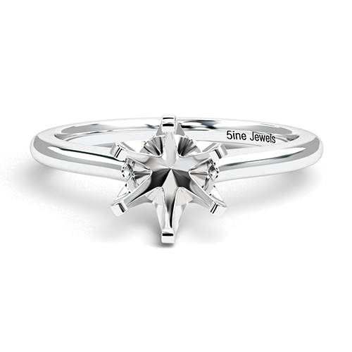 Round Brilliant Cut 6 Prong Simple Solitaire Engagement Ring   Mounts