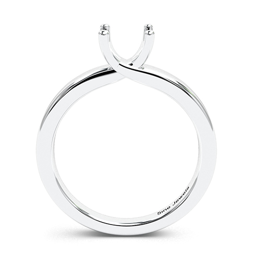 Round Brilliant Cut Crossover 4 Prong Solitaire Engagement Ring   Mounts