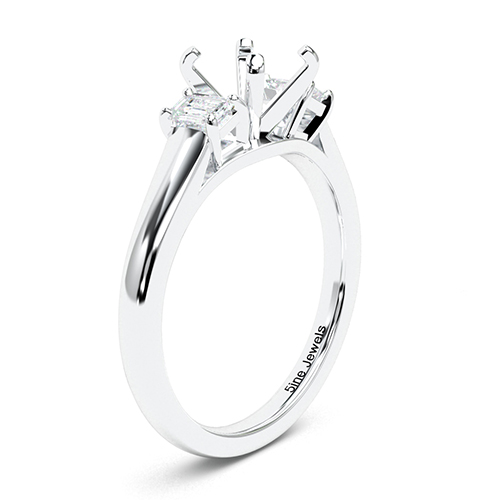 Round Brilliant Cut Classic Style Three Stone Engagement Ring   Mounts