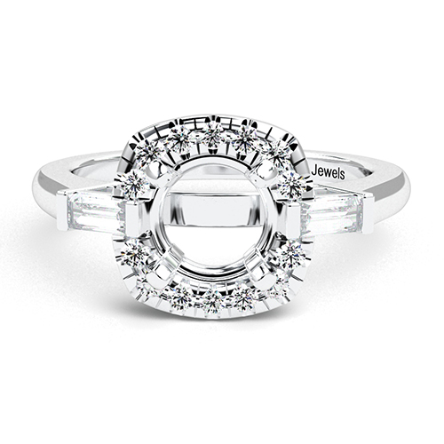 Round Brilliant Cut Vintage Style Three Stone Engagement Ring   Mounts