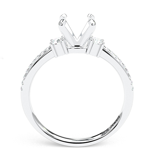 Round Brilliant Cut Petite Three Stone Engagement Ring   Mounts