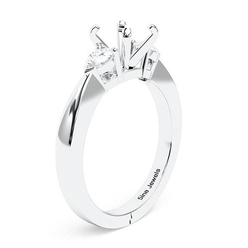 Round Brilliant Cut Pear Three Stone Engagement Ring   Mounts