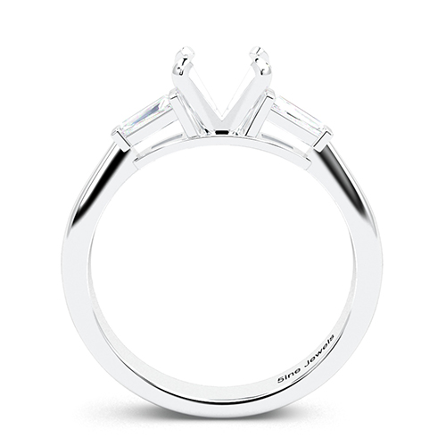 Round Brilliant Cut Tapered Baguette Three Stone Engagement Ring   Mounts