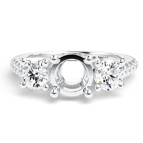 Round Brilliant Cut Heirloom Three Stone Engagement Ring   Mounts