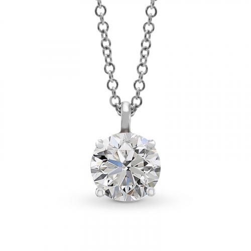1.00 Ct SI2 G Round Brilliant Cut Simple Diamond Pendants Pendants 18K-White Gold