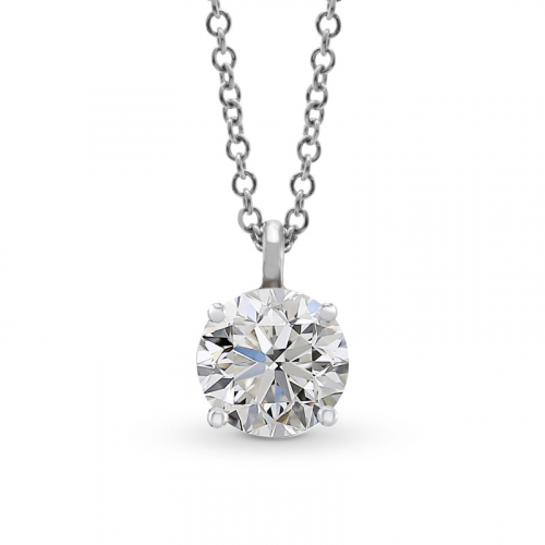 1.00 Ct SI2 G Round Brilliant Cut Simple Diamond Pendants Pendants 18K-White Gold