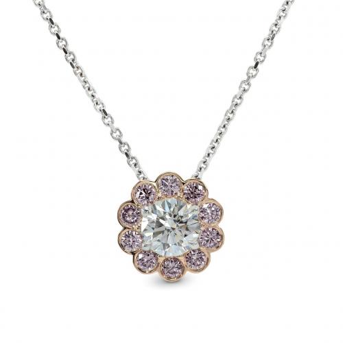 Round Brilliant Cut Pink Floral Halo Diamond Pendants Pendants