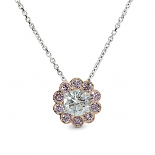 Round Brilliant Cut Pink Floral Halo Diamond Pendants Pendants