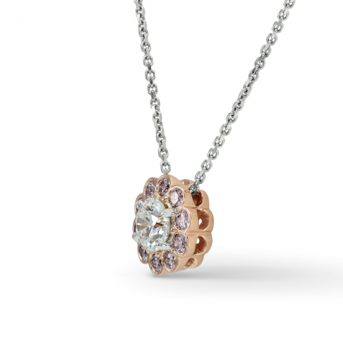 1.50 Ct SI2 H Round Brilliant Cut Pink Floral Halo Diamond Pendants Pendants 18K-Rose Gold