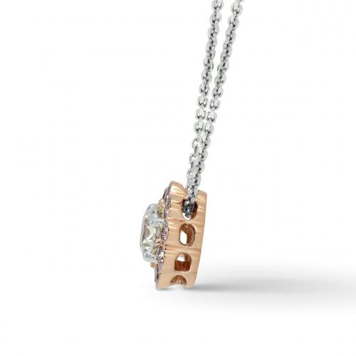 1.50 Ct SI2 H Round Brilliant Cut Pink Floral Halo Diamond Pendants Pendants 18K-Rose Gold