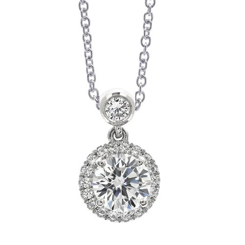 Round Brilliant Cut Bail Halo Diamond Pendants Pendants