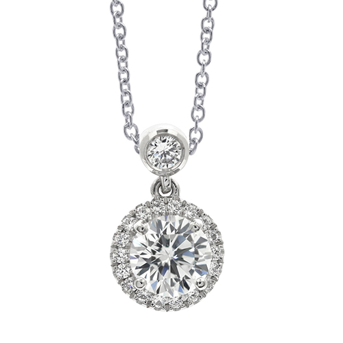 Round Brilliant Cut Bail Halo Diamond Pendants Pendants