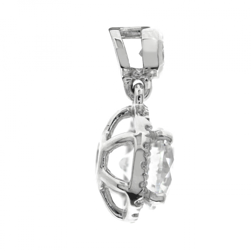 1.50 Ct SI2 H Round Brilliant Cut Bail Halo Diamond Pendants Pendants 18K-White Gold