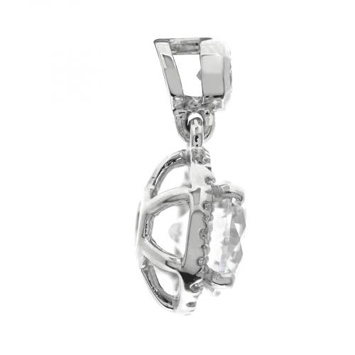 1.50 Ct SI2 H Round Brilliant Cut Bail Halo Diamond Pendants Pendants 18K-White Gold