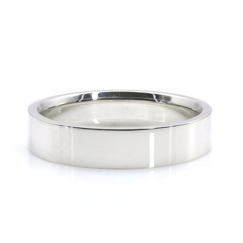 Flat Court Classic Bands Wedding Ring 18K-White Gold