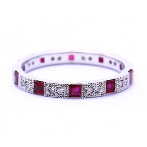 Beautiful Natural Diamond & Ruby Full Eternity Ring In 18K White Gold