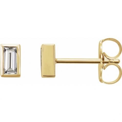 Baguette Cut Natural Diamond Stud Earrings