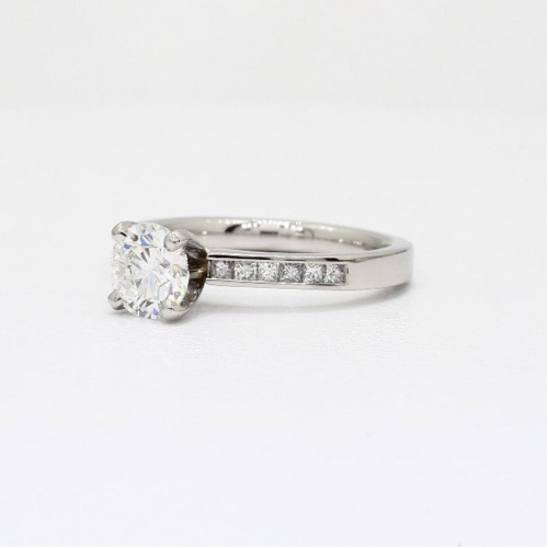 1.80 Cts Round Cut Channel Side Diamond Engagement Ring In 18k White Gold