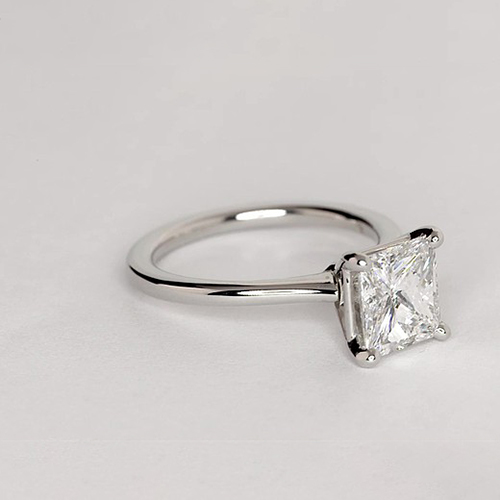 Princess Natural Diamond Solitaire Engagement Ring In 18K White Gold