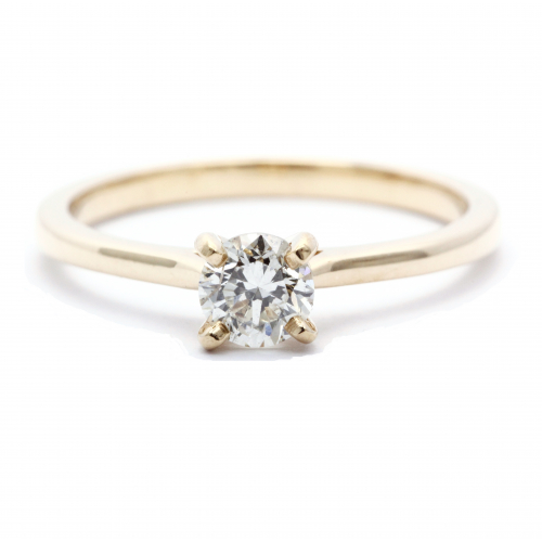 1/2 Round Cut Natural Diamond Solitaire Engagement Ring In 18k Yellow Gold