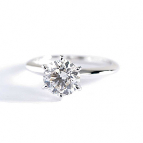 1.40 Cts Round Cut 6 Prong Natural Diamond Solitaire Engagement Ring In Platinum