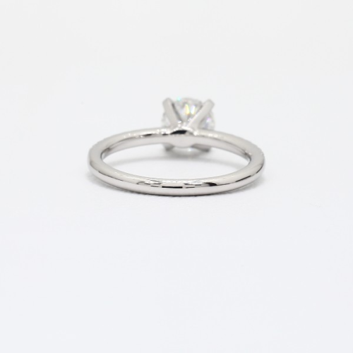 0.75 Ct Round Cut Natural Diamond Petite Pave Enagagement Ring In 9k White Gold