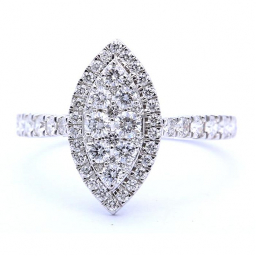 1 Carat Vs/f Round Natural Diamond Marquise Style Engagement Ring in 18k White Gold  Ready to Ship