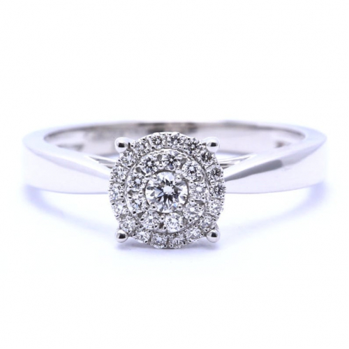 1/2 Carat Round Cut Natural Diamond Engagement Ring Vs/f-g In 18k White Gold  Ready to Ship