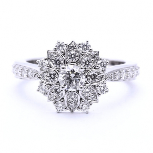 Round Brilliant Cut 1 Ct Flower Style Halo Diamond Engagement Ring In 18k White Gold Diamond  Ready to Ship