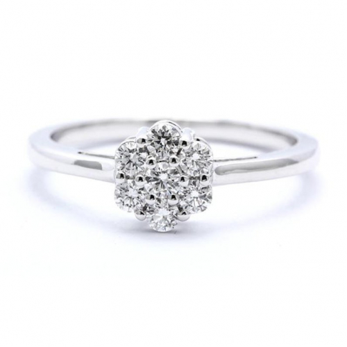 7 Stone Solitaire Look Diamond Engagement Ring In 18k White Gold