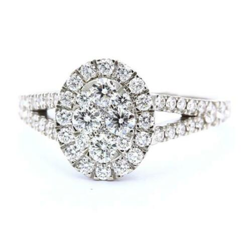 Oval Solitaire Style Halo Natural Diamond Engagement Ring In 18k White Gold