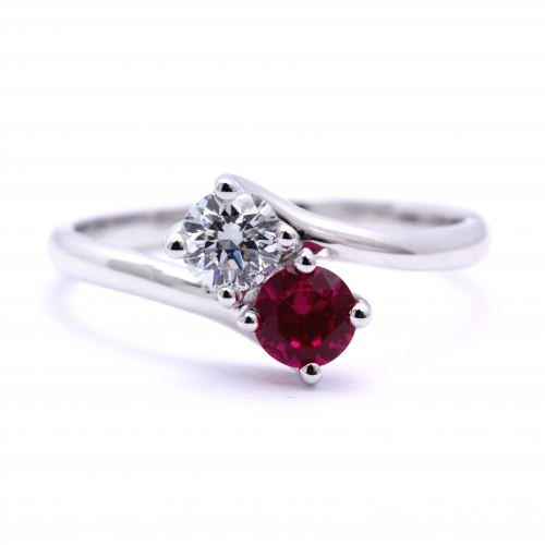 Round Brilliant Cut 2 Stone Round Cut Natural Diamond & Ruby Engagement Ring In 18k White Gold Diamond  Ready to Ship