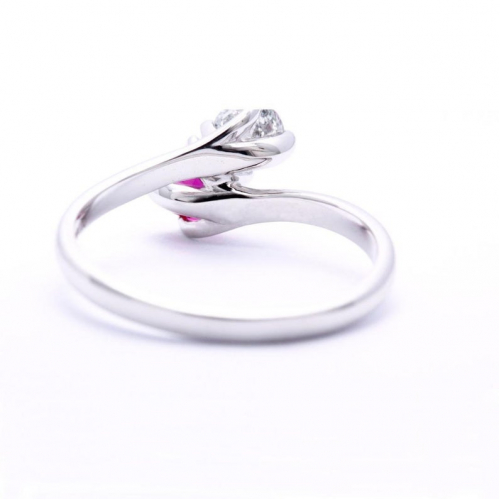 2 Stone Round Cut Natural Diamond & Ruby Engagement Ring In 18k White Gold